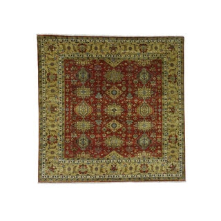 1800getarug Hand-Knotted Red Square Karajeh 100 Percent Wool Oriental Rug (6'9x7'0)