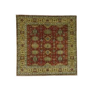 1800getarug Hand-Knotted 100 Percent Wool Red Square Karajeh Oriental Rug (8'10x9'0)