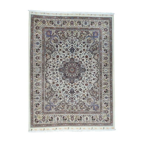 Persian Hand Knotted Kashan Silk And Wool Area Rug Ebth: Shop Shahbanu Rugs Hand-Knotted Persian Mashad Saberi Wool