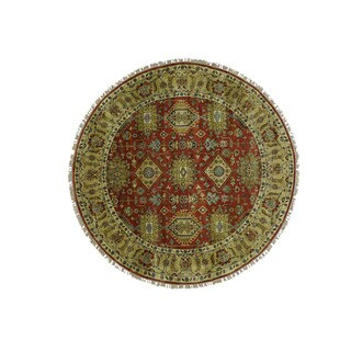 1800getarug Hand-Knotted Round Karajeh Pure Wool Oriental Rug (7'0x7'0)