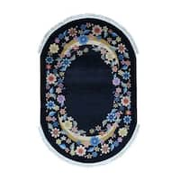 Shahbanu Rugs Art Deco Oval Floral Design Chinese Hand-Knotted Oriental Rug (6'0x9'0)