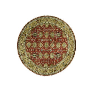 1800getarug Hand-Knotted Round Karajeh Pure Wool Oriental Rug (11'10x11'10)