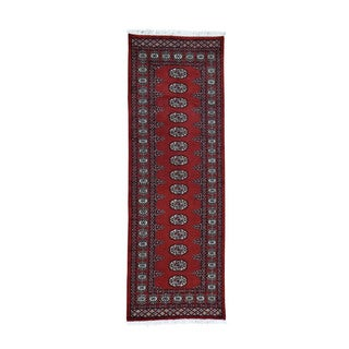 1800getarug Handmade Elephant Feet Design Red Bokara Pure Wool Runner Rug (2'7x8'2)