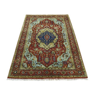 Pure Wool Antiqued Heriz Recreation Hand-Knotted Oriental Rug (2'1x3'0)