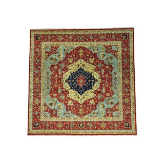 1800getarug Antiqued Heriz Recreation Pure Wool Hand-Knotted Square Rug (7'10x8'1)