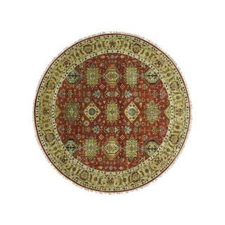 1800getarug Hand-Knotted Round Karajeh Pure Wool Oriental Rug (8'10x9'0)