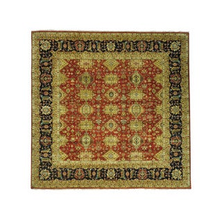 1800getarug Hand-Knotted Rust Red Karajeh 100 Percent Wool Square Rug (11'8x12'0)