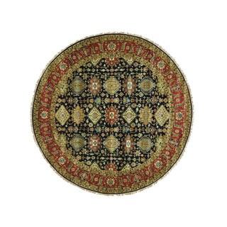 1800getarug Hand-Knotted Round Karajeh 100 Percent Wool Oriental Rug (11'9x11'9)