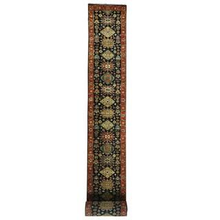 1800getarug XL Runner Hand-Knotted Black Pure Wool Karajeh Oriental Rug (2'4x26'0)