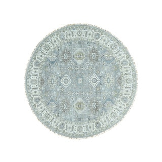 1800getarug Pure Wool Handmade Round Silver Wash Karajeh Oriental Rug (11'9x11'10)