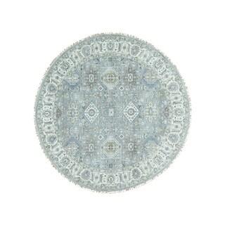 1800getarug Pure Wool Hand-Knotted Round Silver Wash Karajeh Oriental Rug (9'0x9'1)