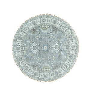 1800getarug Hand-Knotted Round Silver Wash Karajeh 100 Percent Wool Rug (6'10x6'10)