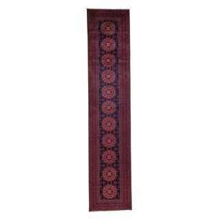 1800getarug Afghan Khamyab Vegetable Dyes Hand-Knotted Oriental Runner Rug (2'9x12'10)