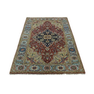 1800getarug Hand-Knotted Pure Wool Antiqued Heriz Recreation Rug (3'0x4'9)