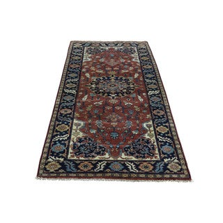Hand-Knotted Pure Wool Antiqued Heriz Recreation Runner Rug (2'7x6'0)