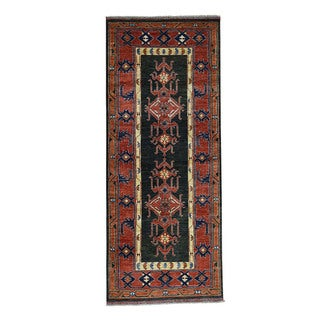 1800getarug Hand-Knotted Turkoman Ersari Pure Wool Wide Gallery Size Rug (4'0x10'0)