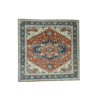 1800getarug Hand-Knotted Pure Wool Antiqued Heriz Recreation Square Rug (10'0x10'0)
