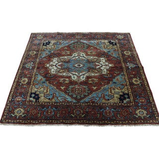 1800getarug Handmade Pure Wool Antiqued Heriz Recreation Square Rug (4'0x4'2)