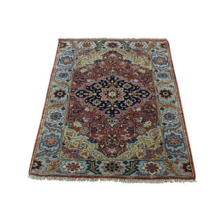 1800getarug Hand-Knotted Pure Wool Antique Heriz Recreation Oriental Rug (2'1x3'1)
