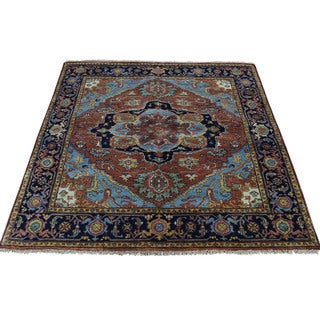 1800getarug Hand-Knotted Pure Wool Antiqued Heriz Recreation Square Rug (4'1x4'2)