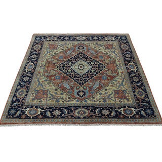 1800getarug Antiqued Heriz Recreation Hand-Knotted Pure Wool Square Rug (4'0x4'2)