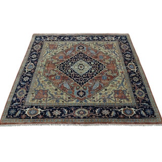 1800getarug Antiqued Heriz Recreation Hand-Knotted Pure Wool Square Rug (4'1x4'2)