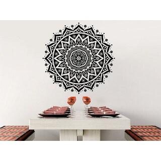 Mandala Wall Decal Yoga Studio Ornament Moroccan Pattern Namaste Lotus Flower Sticker Decal size 44x