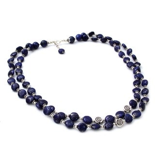 Handcrafted Sterling Silver 'Midnight Breeze' Lapis Lazuli Necklace (India)