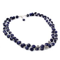 Handmade Sterling Silver 'Midnight Breeze' Lapis Lazuli Necklace (India)