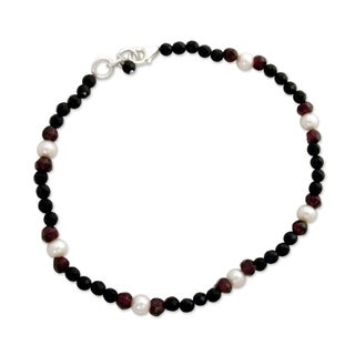 Handmade Sterling Silver 'Friendship' Multi-gemstone Pearl Anklet (5 mm) (India)