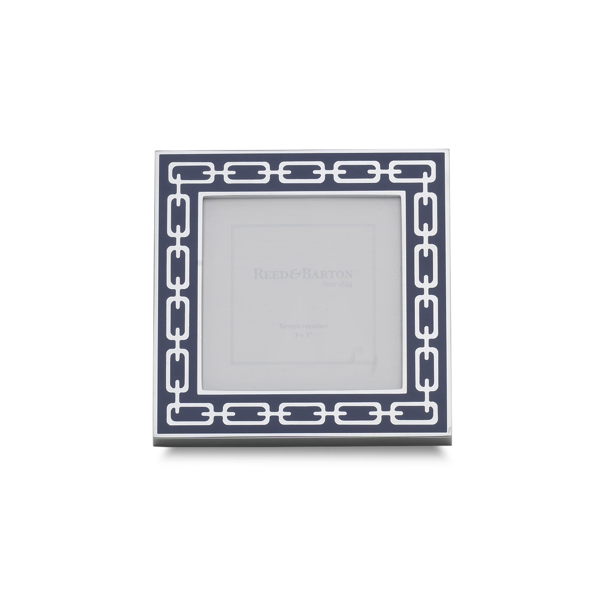 Reed & Barton Silver and Navy Metal 3x3 Linked Frame (Sil...
