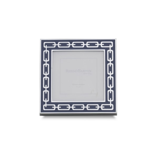 Reed & Barton Silver and Navy Metal 3x3 Linked Frame