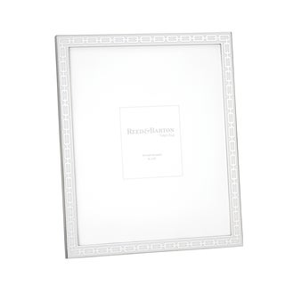 Reed Barton Silver-tone Chrome Link and White Enamel 8-inch x 10-inch Frame