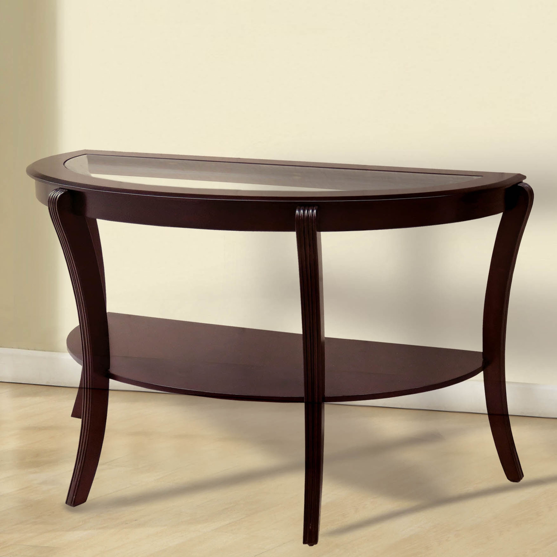 Carline Contemporary Espresso Half-moon Sofa Table by FOA