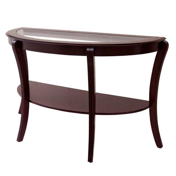 Furniture Of America Carline Modern Espresso Half Moon Sofa Table