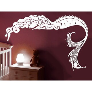 Mermaid Sea Shells Nautical Decor Bathroom Nursery Baby Room Home Bedroom Sticker Decall size 44x52 Color Black