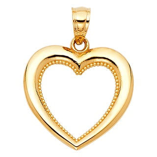 14k Yellow Gold Milligrain Open Heart Pendant and Yellow Gold Square Wheat Chain