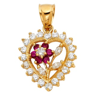 14k Yellow Gold Cubic Zirconia Floral Heart Pendant and Yellow Gold Flat wheat Chain