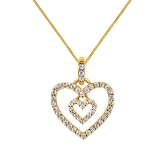 14k Yellow Gold Cubic Zirconia Double Heart Pendant and Yellow Gold Square Wheat Chain