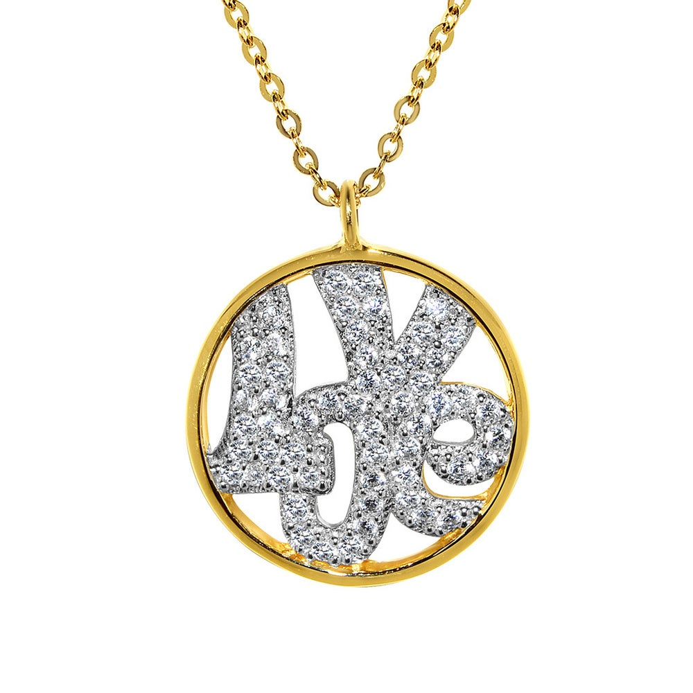 Details about  /14K Yellow Gold Studded with 45 Clear Round Cubic Zirconia Heart Necklace