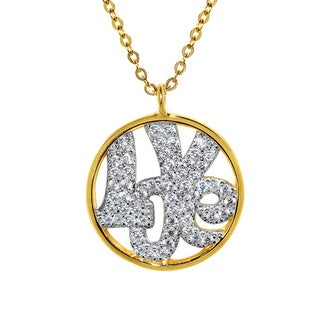 14k Yellow Gold Cubic Zirconia Round 'LOVE' Necklace