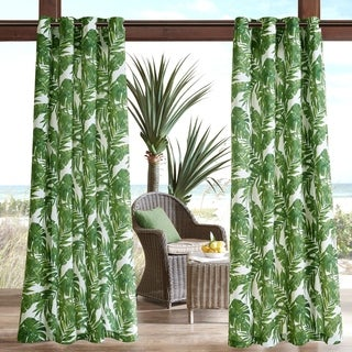 Madison Park Navio Green Printed Palm 3M Scotchgard Outdoor Curtain Panel