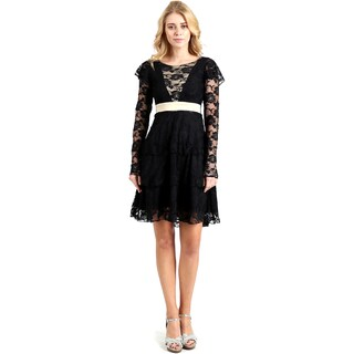 Evanese Women's Lace Cocktail Tiered Short-skirt Dress with Long Sleeves (More options available)