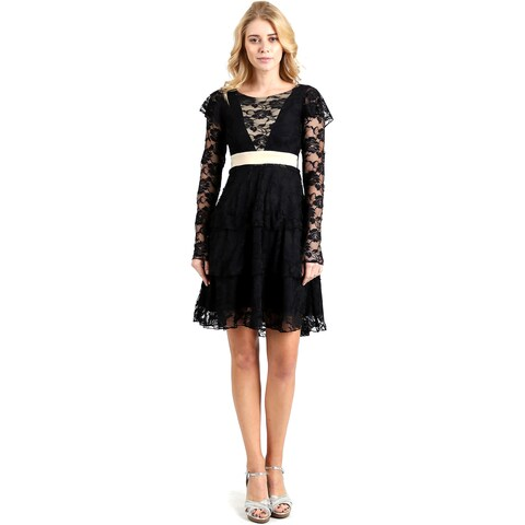 Evanese Women's Lace Cocktail Tiered Short-skirt Dress with Long Sleeves