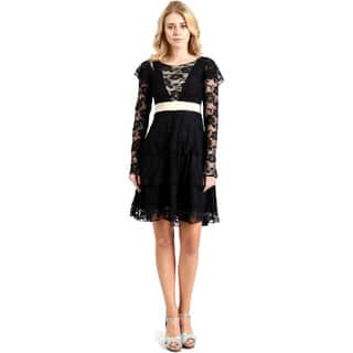 Evanese Women's Lace Cocktail Tiered Short-skirt Dress with Long Sleeves|https://ak1.ostkcdn.com/images/products/14159400/P20760213.jpg?impolicy=medium