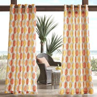 Madison Park Cayucos Printed Circles 3M Scotchgard Water Repellent and Stain Resistant Outdoor Grommet Top Curtain Panel