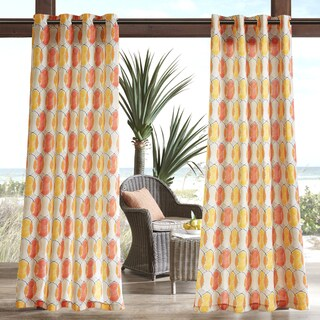Madison Park Cayucos Printed Circles 3M Scotchgard Water Repellent and Stain Resistant Outdoor Grommet Top Curtain Panel (2 options available)