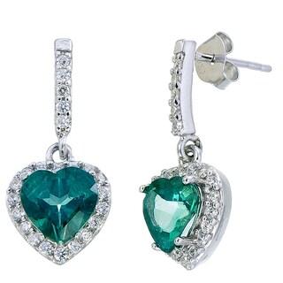 Sterling Silver 1 7/8ct TGW Green Topaz Heart Earrings
