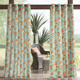 Madison Park Cambria Printed Floral 3M Scotchgard Water Repellent and Stain Resistant Outdoor Grommet Top Curtain Panel (More options available)