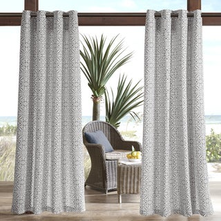 Madison Park Morro Printed Fret 3M Scotchgard Outdoor Curtain Panel 4 Color Option